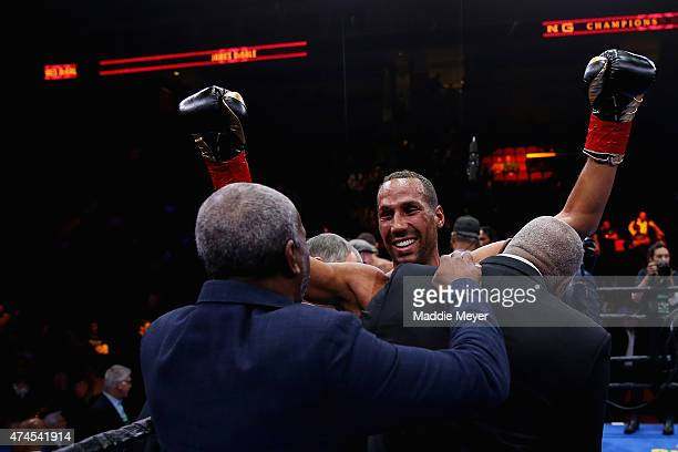 James DeGale celebrates his win over Andre Dirrell after their super middleweight fight at Agganis Arena at Boston University on May 23 2015 in...