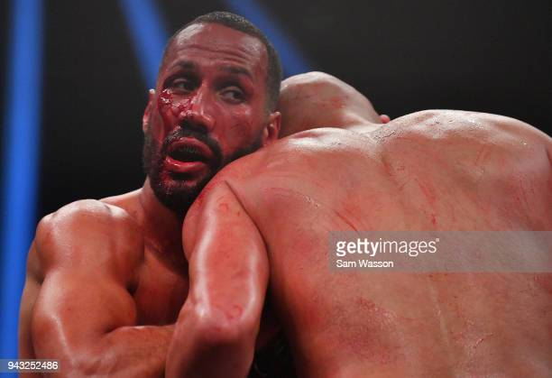 James DeGale clinches Caleb Truax during their IBF super middleweight title fight at The Joint inside the Hard Rock Hotel Casino on April 7 2018 in...