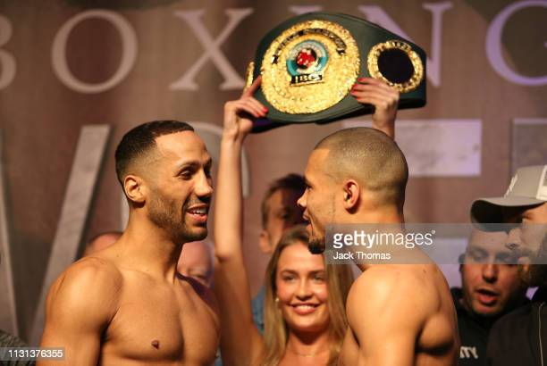 James DeGale faces off with Chris Eubank Jr during the Weighin ahead of the IBO World Super Middleweight Title fight between DeGale v Chris Eubank Jr...
