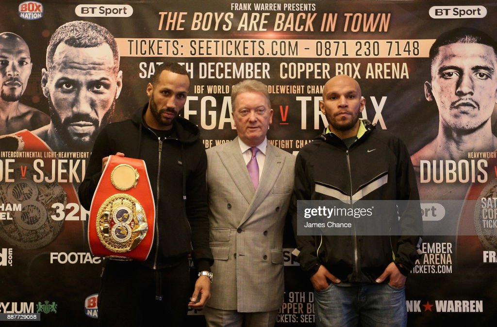 James DeGale, Frank Warren and Caleb Truax pose for a photo during a Boxing Press Conference at The Landmark London on December 7, 2017 in London, England.