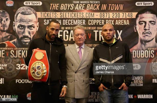 James DeGale Frank Warren and Caleb Truax pose for a photo during a Boxing Press Conference at The Landmark London on December 7 2017 in London...