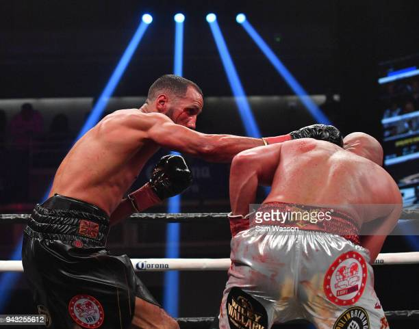 James DeGale lands a right on Caleb Truax during their IBF super middleweight title fight at The Joint inside the Hard Rock Hotel Casino on April 7...