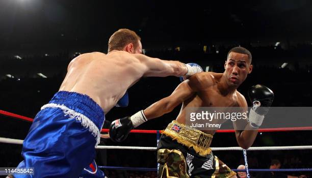 James DeGale of England fights George Groves of England in the British and Commonwealth SuperMiddleweight Championship during World Championship...