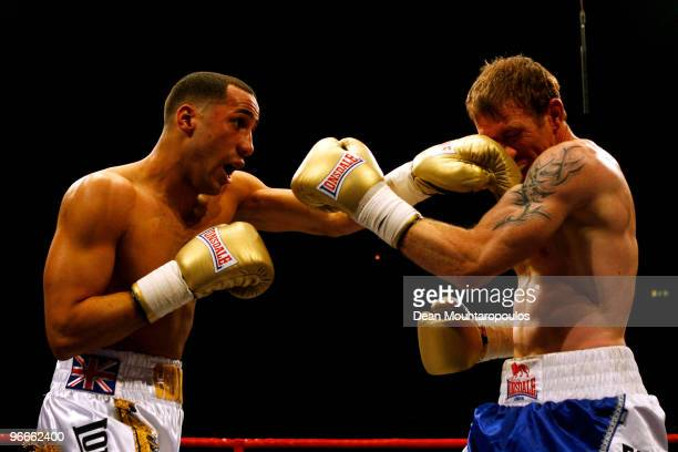 James DeGale of Harlesden lands a punch on Matthew Barr of WaltononThames in their Middleweight bout at Wembley Arena on February 13 2010 in London...