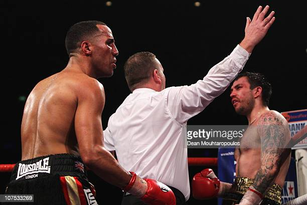 James DeGale of Harlsden celebrates as the referee stops the fight against Paul Smith of Liverpool during their SuperMiddleweight Championship of the...