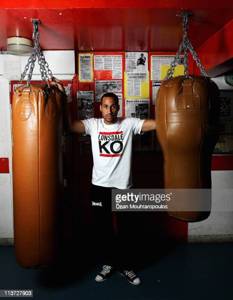 James DeGale poses after the James DeGale and George Groves Press Conference held at Dale Youth Boxing Club in Granfell Tower on May 5 2011 in London...