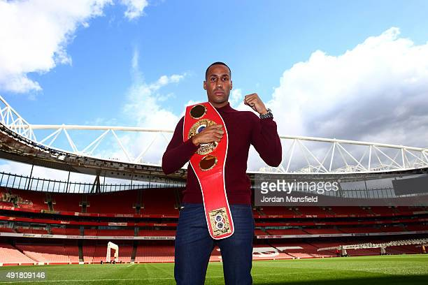 James DeGale poses for a photo during the press conference ahead of the fight between James DeGale and Lucian Bute at Emirates Stadium on October 8...