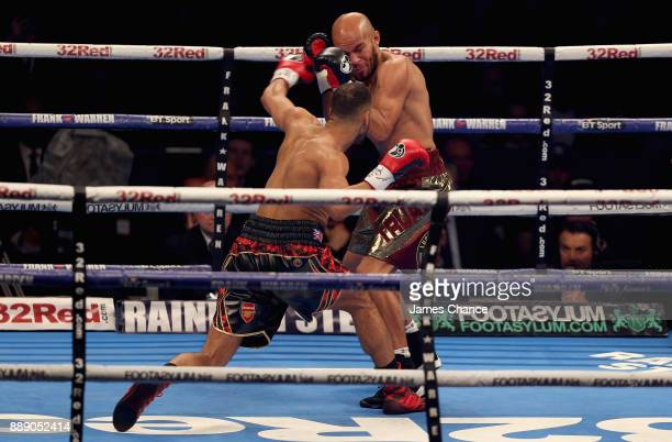 James DeGale punches Caleb Truax during there IBF World Super Middleweight Title fight to Caleb Truax at Copper Box Arena on December 9 2017 in...