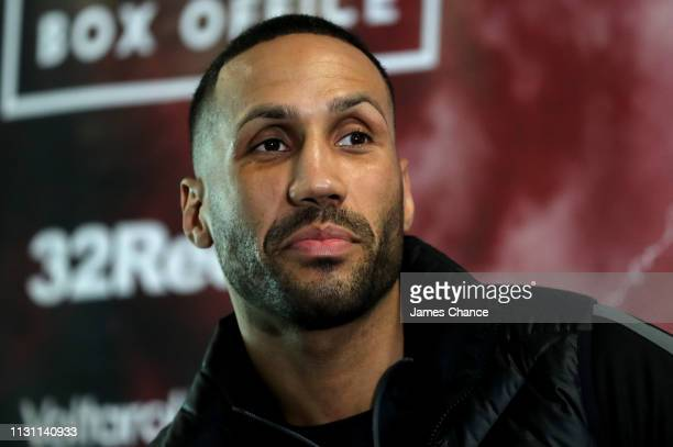 James Degale speaks during a press conference ahead of their IBO World Super Middleweight Title fight at the Intercontinental Hotel on February 21...