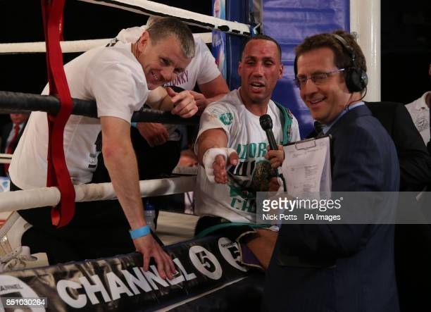 James DeGale speaks to Channel 5's Mark Pougatch and Jimmy Mcdonnell after his victory over Stjepan Bozic during the WBC Silver super middleweight...