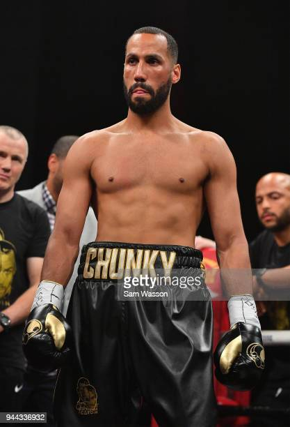 James DeGale stands in the ring before his IBF super middleweight title fight against Caleb Truax at The Joint inside the Hard Rock Hotel Casino on...