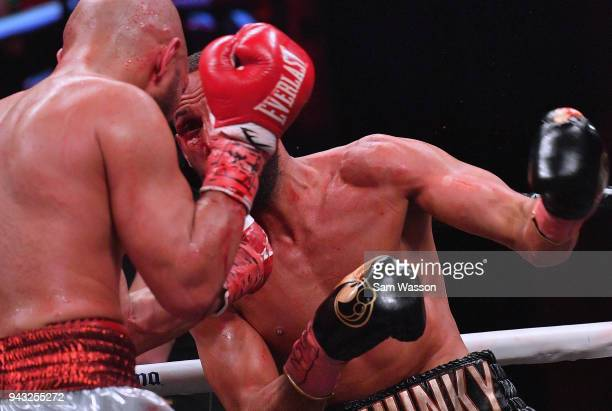 James DeGale throws a left at Caleb Truax during their IBF super middleweight title fight at The Joint inside the Hard Rock Hotel Casino on April 7...