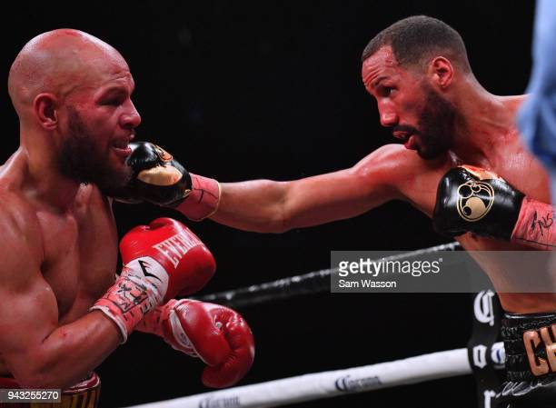 James DeGale throws a right at Caleb Truax during their IBF super middleweight title fight at The Joint inside the Hard Rock Hotel Casino on April 7...