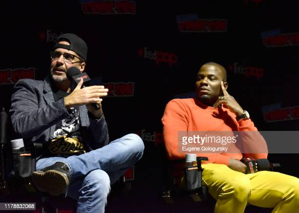 James DeMonaco and Derek Luke speak on stage during USA's The Purge Premiere Screening and Panel the New York Comic Con at Jacob K. Javits Convention...