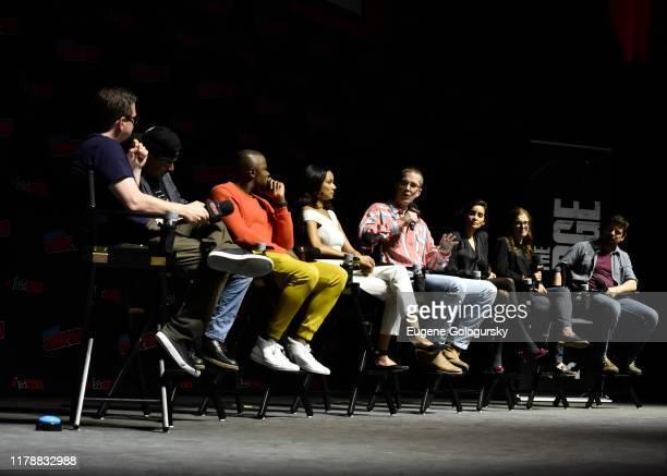 James DeMonaco, Derek Luke, Rochelle Aytes, Joel Allen, Paola Núñez, Krystal Houghton Ziv and James Roland speak on stage with a moderator during...