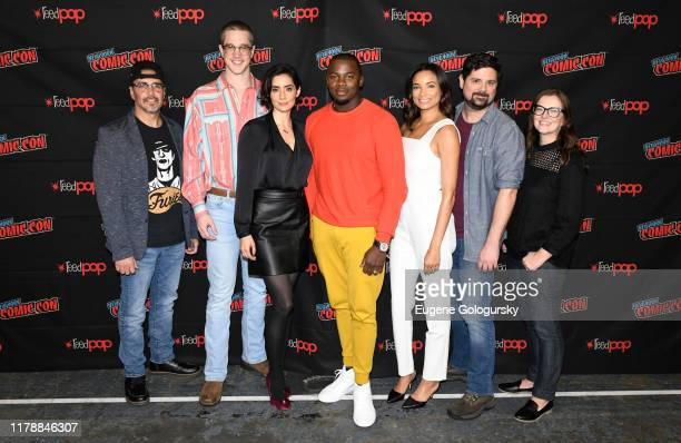 James DeMonaco, Joel Allen, Paola Núñez, Derek Luke, Rochelle Aytes, James Roland and Krystal Houghton Ziv pose for a photo after the USA's The Purge...
