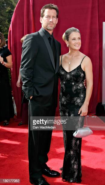 James Denton and Erin O'Brien during The 57th Annual Emmy Awards Arrivals at Shrine Auditorium in Los Angeles California United States
