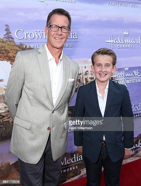 James Denton and Sheppard Denton attend the Hallmark Channel And Hallmark Movies And Mysteries Summer 2016 TCA Press Tour Event on July 27 2016 in...