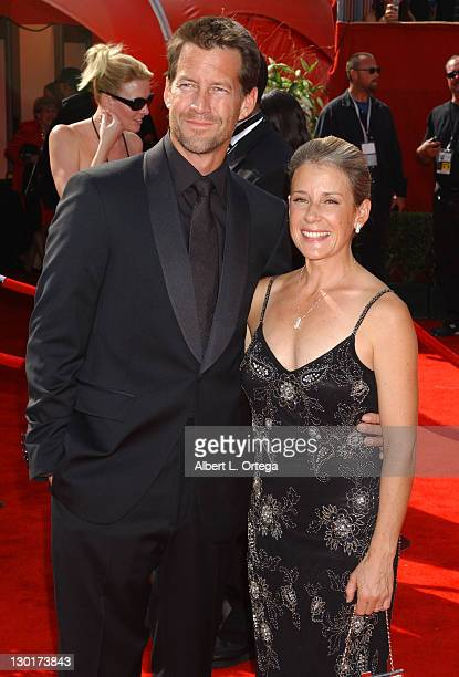 James Denton and wife Erin O'Brien during The 57th Annual Emmy Awards Arrivals at Shrine Auditorium in Los Angeles California United States