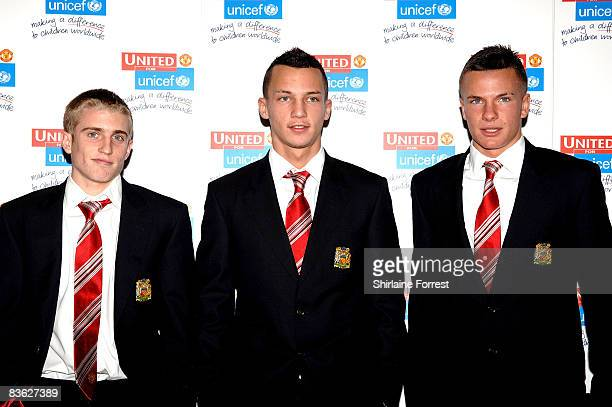 James Derbyshire Daniel Drinkwater and Tom Cleverly attend the Manchester United `United for UNICEF' Gala Dinner at Manchester United Museum on...