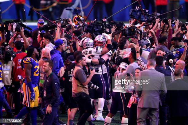 James Develin of the New England Patriots celebrates after his teams 13-3 win over the Los Angeles Rams during Super Bowl LIII at Mercedes-Benz...