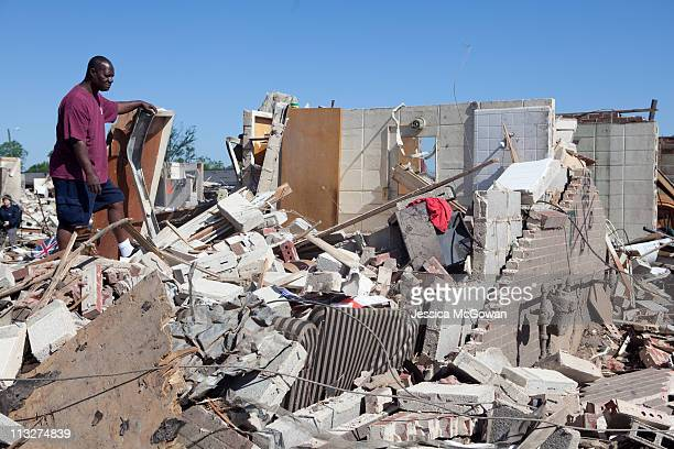 James Dixon, Jr. Returns to his Rosedale home to look for salvageable items on April 29, 2011 in Tuscaloosa, Alabama. Looking at his destroyed home,...