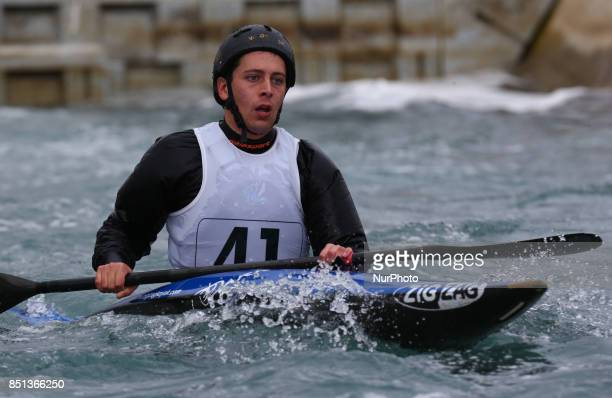 James Dixon of Holme Pierrepont CC J16 competes in Kayak Men during the British Canoeing 2017 British Open Slalom Championships at Lee Valley White...