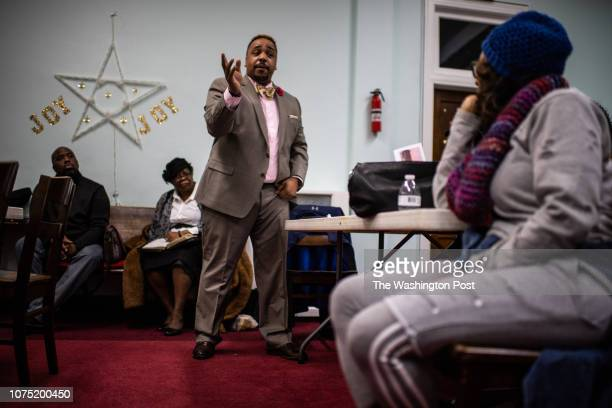 James Dixon of the Baltimore Police speaks during the Mothers of Murdered Sons and Daughters United monthly meeting at St John Alpha Omega...