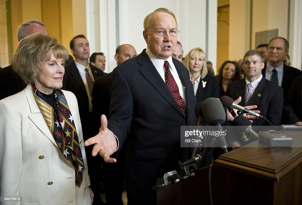 James Dobson, founder and chairman emeritus of Focus on the Family, with his wife Shirley Dobson, chairman of the National Day of Prayer Task Force, speaks during a news conference at the conclusion of the National Day of Prayer event in the Cannon Caucus Room on Thursday, May 7, 2009.