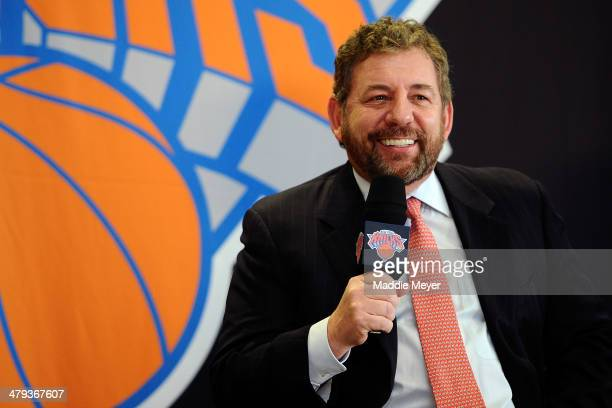 James Dolan, Executive Chairman of Madison Square Garden, answers questions during the press conference to introduce Phil Jackson as President of the...