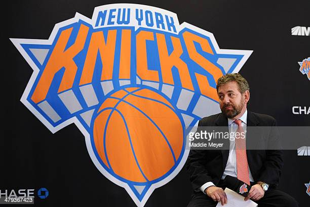 James Dolan Executive Chairman of Madison Square Garden looks on during the press conference to introduce Phil Jackson as President of the New York...