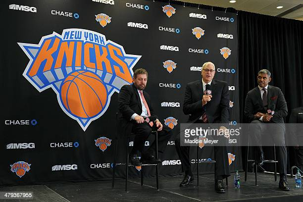 James Dolan Executive Chairman of Madison Square Garden Phil Jackson President of the New York Knicks and Steve Mills General Manager of the New York...