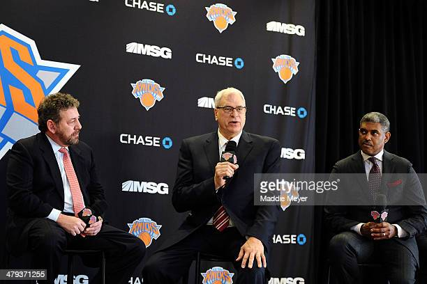 James Dolan Executive Chairman of Madison Square Garden Phil Jackson and Steve Mills General Manager of the New York Knicks answer questions during...