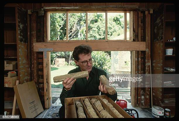 James Dolan holds core samples from the ground below a house that belonged to Ozzie and Harriet Nelson The samples show a seismic fault directly...