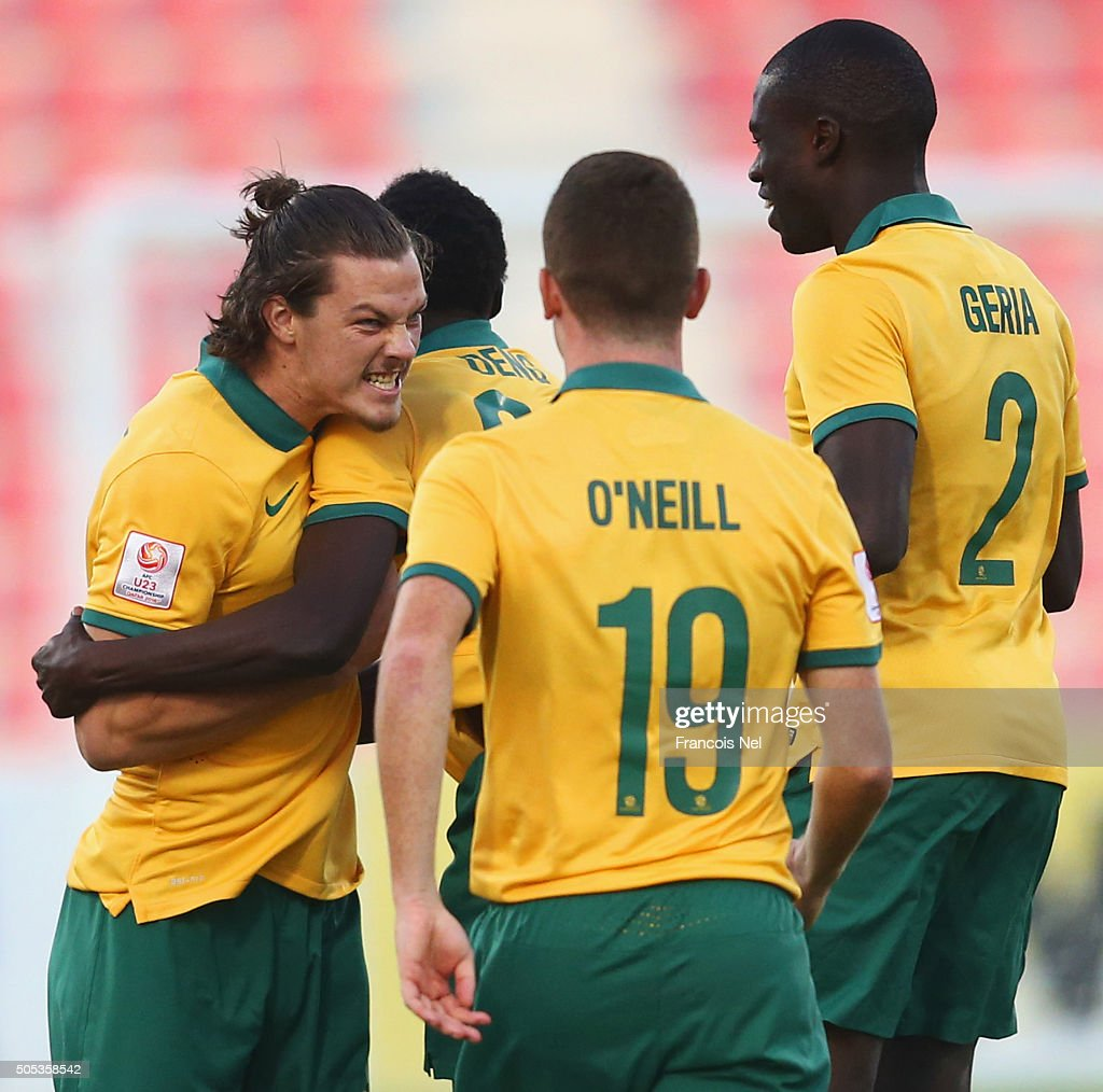 James Donachie of Australia (L) celebrates with team mates as he scores their first goal during the AFC U-23 Championship Group D match between Vietnam and Australia at Grand Hamad Stadium on January 17, 2016 in Doha, Qatar.