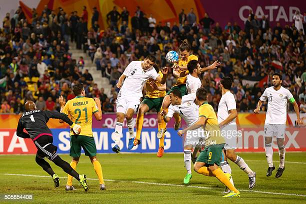 James Donachie of Australia heads the ball towrds goal during the AFC U23 Championship Group D match between Jordan and Australia at Suhaim Bin Hamad...