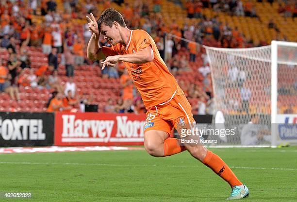 James Donachie of the Roar celebrates after scoring a goal during the round 16 ALeague match between the Brisbane Roar and the Wellington Phoenix at...