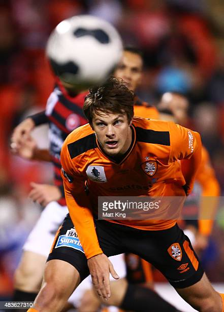 James Donachie of the Roar heads the ball during the FFA Cup match between Western Sydney Wanderers and Brisbane Roar at Pepper Stadium on August 11...
