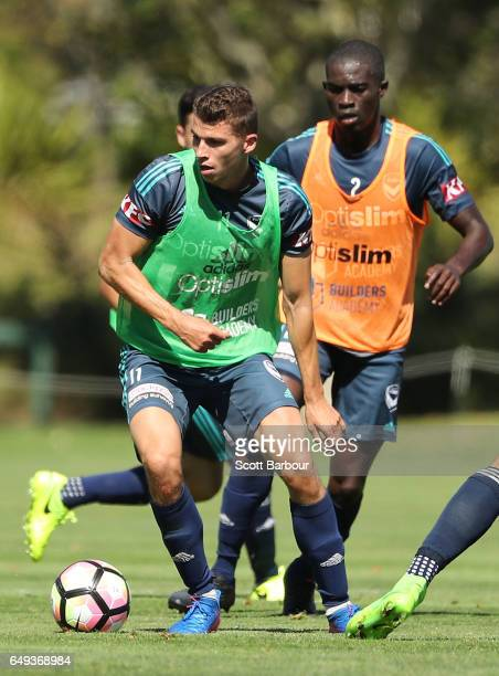 James Donachie of the Victory controls the ball during a Melbourne Victory ALeague training session at Gosch's Paddock on March 8 2017 in Melbourne...