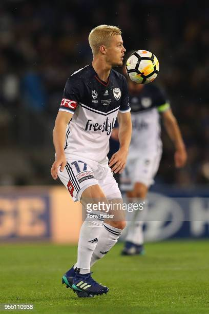 James Donachie of the Victory controls the ball during the 2018 ALeague Grand Final match between the Newcastle Jets and the Melbourne Victory at...