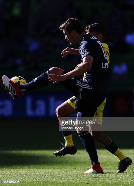 James Donachie of the Victory controls the ball during the round 23 ALeague match between the Melbourne Victory and the Central Coast Mariners at...