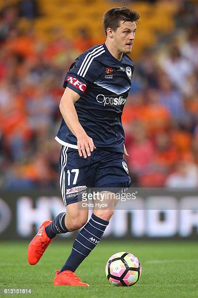 James Donachie of the Victory controls the ball during the round one ALeague match between the Brisbane Roar and Melbourne Victory at Suncorp Stadium...