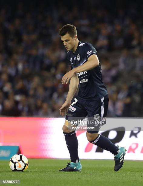 James Donachie of the Victory controls the ball during the round one ALeague match between the Melbourne Victory and Sydney FC at Etihad Stadium on...