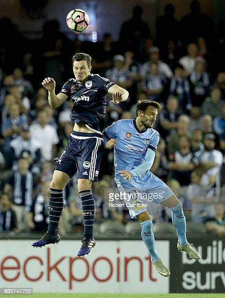 James Donachie of the Victory heads the ball during the round 17 ALeague match between the Melbourne Victory and Sydney FC at Etihad Stadium on...