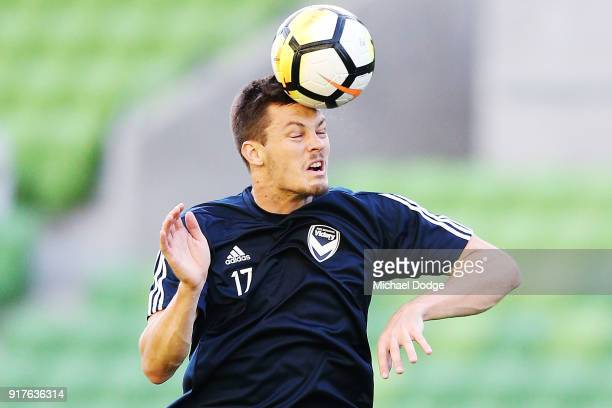 James Donachie of the Victory heads the ball in the warm up during the AFC Asian Champions Leagu between the Melbourne Victory and Ulsan Hyundai FC...