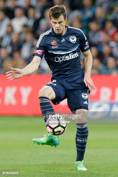 James Donachie of the Victory kicks the ball during the ALeague Semi Final match between Melbourne Victory and the Brisbane Roar at AAMI Park on...