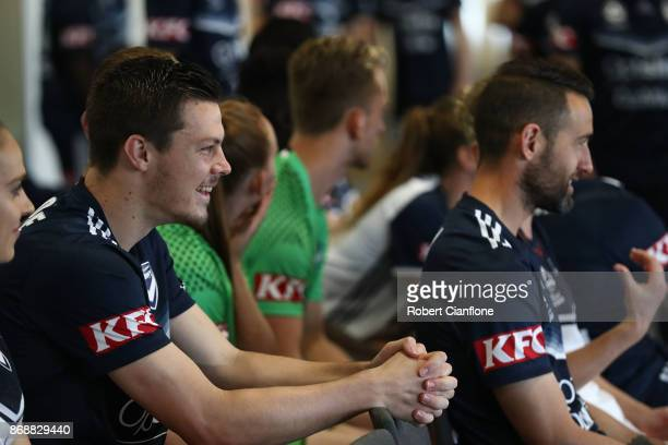 James Donachie of the Victory looks on during a Melbourne Victory ALeague portrait session on November 1 2017 in Melbourne Australia