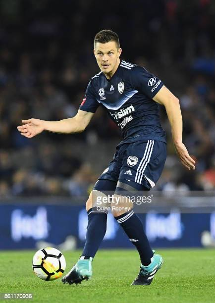 James Donachie of the Victory passes the ball during the round two ALeague match between Melbourne Victory and Melbourne City FC at Etihad Stadium on...
