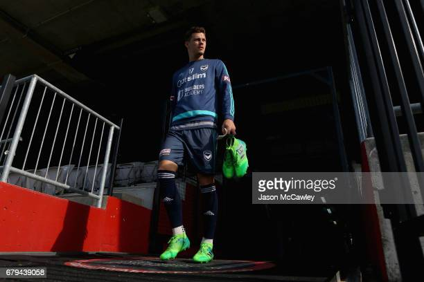 James Donachie of the Victory takes to the pitch to warm up during a Melbourne Victory ALeague training session at WIN Jubilee Stadium on May 6 2017...
