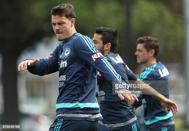 James Donachie of the Victory warms up during a Melbourne Victory ALeague training session at Gosch's Paddock on December 14 2016 in Melbourne...